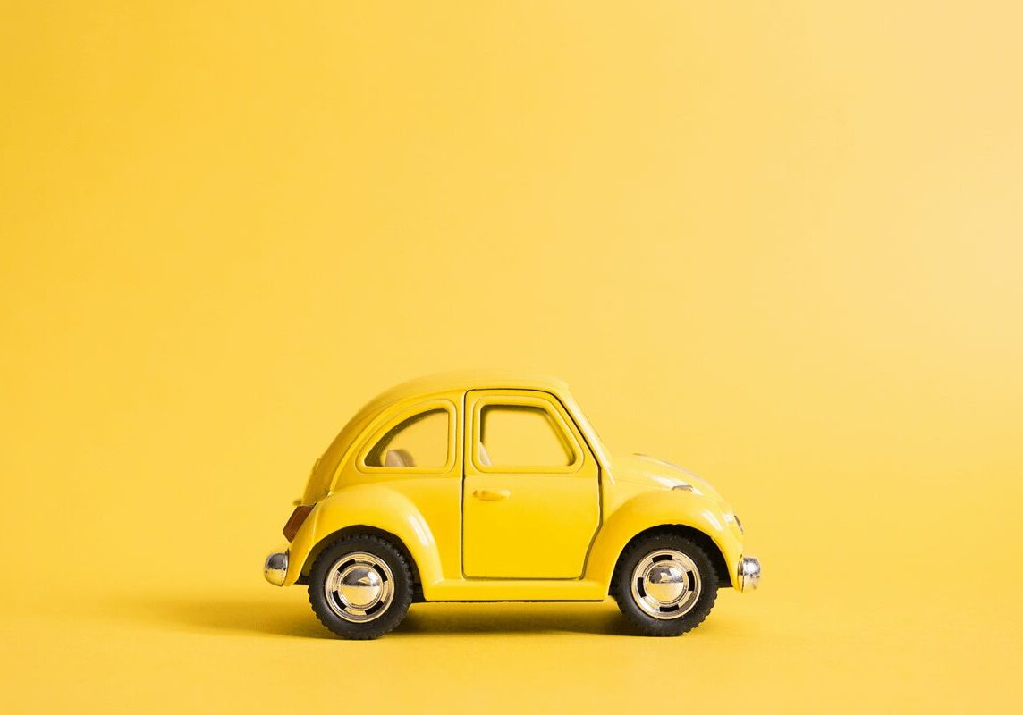 yellow car on yellow background